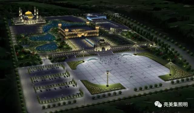 推球网黑钻LED方形泛光灯出色绽放漂亮银川--中华回籍文化园